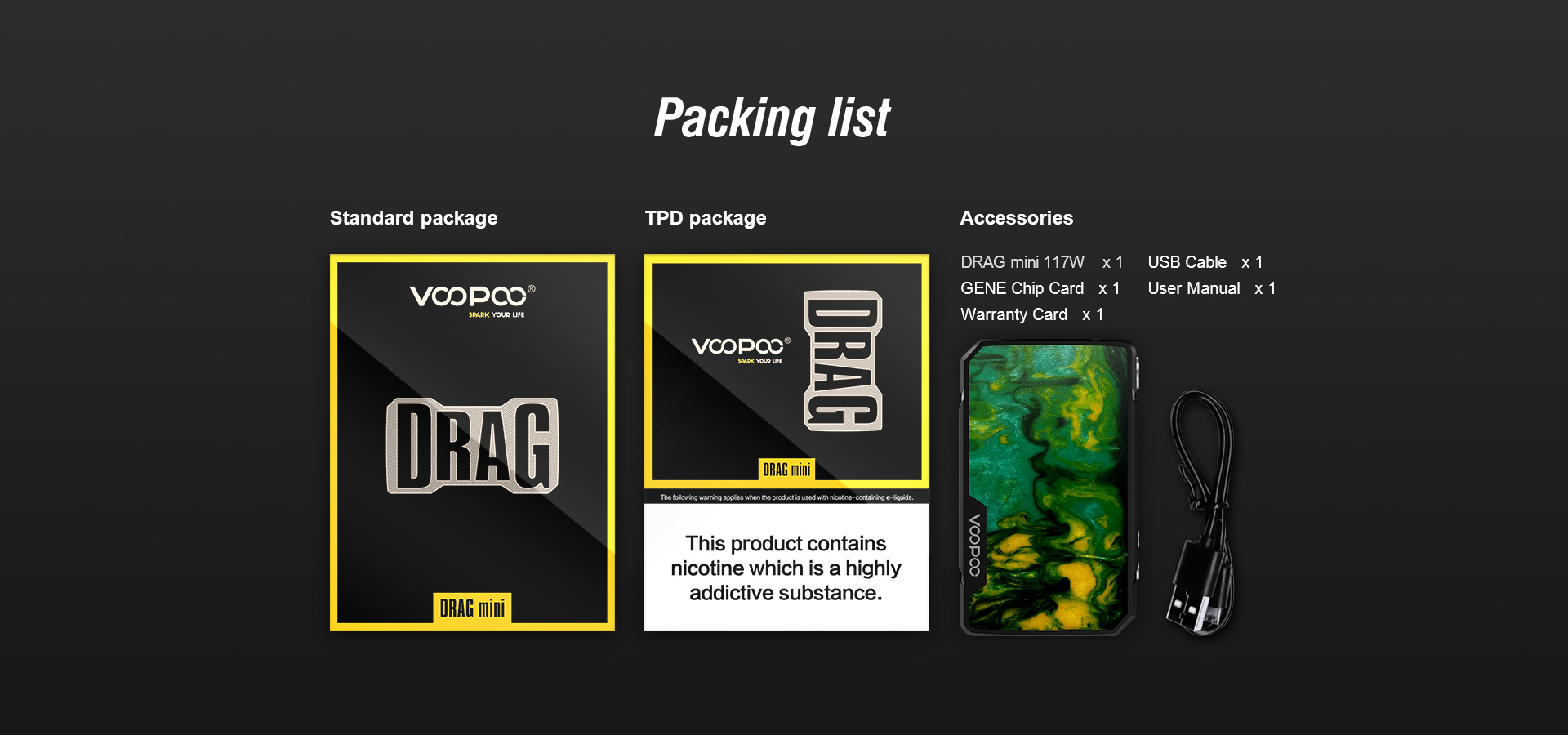 DRAG mini 18 VOOPOO Drag Mini 117W TC Mod 4400mAh Xsmokers